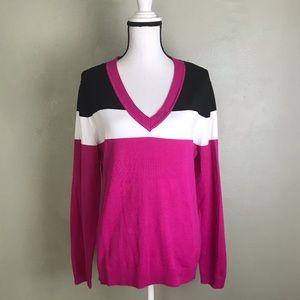 Dress Barn NWT Pink Black White V Neck Sweater XL